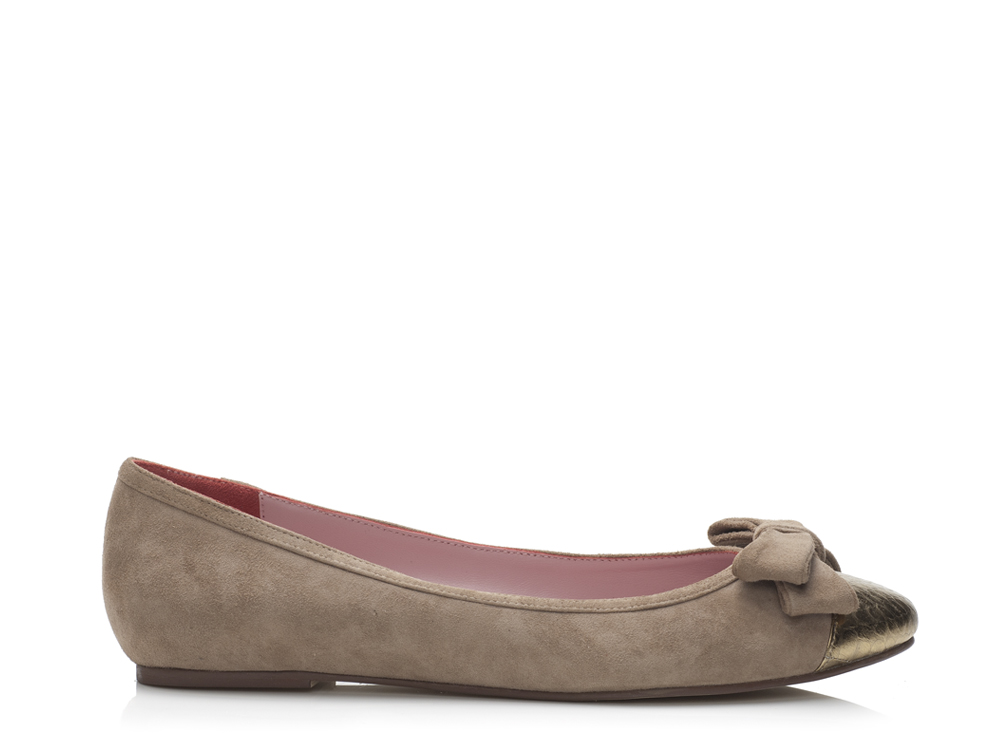 Shoes Greyish Brown Suede Ballet flats