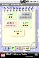 Screenshot of Thirty-one Card Game Pad