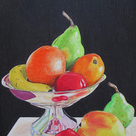 Still Life with Fruit Bowl by Marilyn Brown - Drawing All Drawing ( pencil, fruit, coloured, painting )
