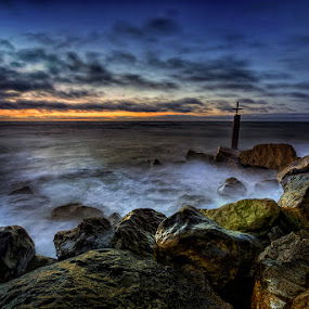 First Light Of The Day ... by Pawel Tomaszewicz - Landscapes Waterscapes ( water, exposure, clouds, hdr, sea, bournemouth, long, dri, hdri, england, poole, sky, sunset, sunrise, rocks, dorset )