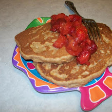 Whole Wheat Pancakes With Strawberry Rhubarb Compote