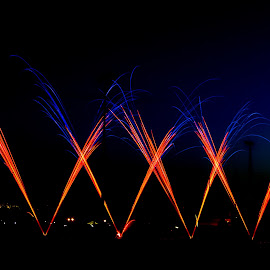 firework by Rousselle Ria - Abstract Fire & Fireworks ( feu artifice, blue, artec, orange. color, marcq )