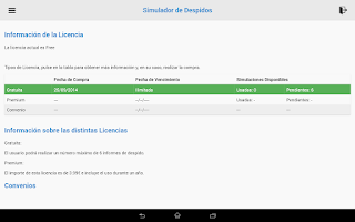 Screenshot of Simulador de despido y ceses