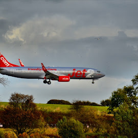 coming into land... by Nic Scott - Transportation Airplanes ( landing, plane, airplane, jet2 )