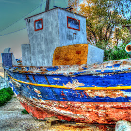 Decaying boat by Stratos Lales - Novices Only Objects & Still Life ( old, colourful, kavala, boat, decay )