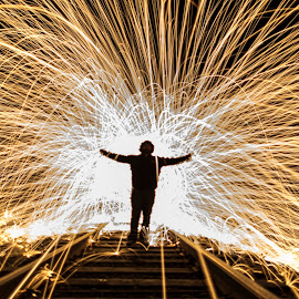 Steel Wool Light Show by Bruce Wayne - Abstract Fire & Fireworks ( steel wool, train, long exposure, tracks, sparks )