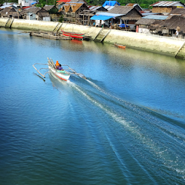 Speed Up by Zab Coloma - Landscapes Travel ( water boat river blue )