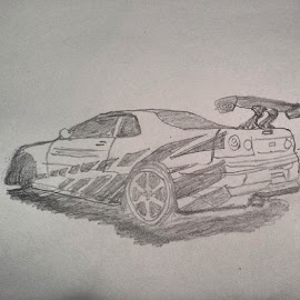 Attempt: Nissan Skyline Paul Walker by Belma Pelto - Drawing All Drawing ( Nissan, Skyline, PaulWalker, RIP, FastFurious )