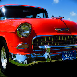 55 Chevy Bel-Air Nomad by Jerrod Edwards - Transportation Automobiles ( #old, #classic, #vibrant, #car, #red, #muscle,  )