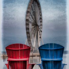 Painting a picture of summer by Deborah Felmey - Artistic Objects Other Objects ( chairs, summer, view, waterfront, pier side, ferris wheel )