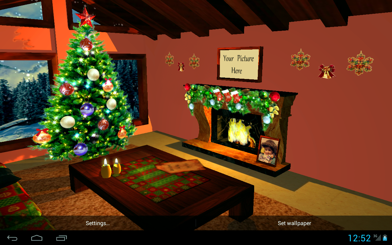 3D Christmas Fireplace HD Full Screenshot 1