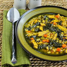 Chicken Soup with Farro, Kale, and Turmeric