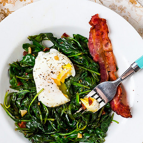 Sauteed Kale and Spinach with Bacon & Balsamic