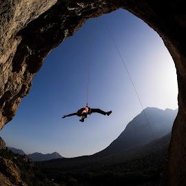 Mark taking a swing by Climb Globe - Sports & Fitness Climbing ( rock climbing, geyikbayiri, sport climbing, black moon, turkey )