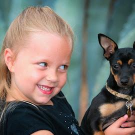 Let's Play Dress Up by John Smith - Babies & Children Children Candids ( cuteness, girl, pets, children, dog,  )