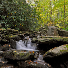 Autumn Approaches by Snickers Oakes - Landscapes Waterscapes ( boulders, nature, parkway, autumn, waterfall )