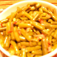 Green Beans With Diced Ham, Onions & Red Pimentos
