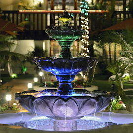 Lighted Fountain by Michael Loen - Buildings & Architecture Architectural Detail ( water, colors, fountain, night, courtyard )