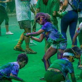 Blue Girl by Tudor Migia - News & Events World Events ( bucharest, girl, the colorrun, blue, green, play, kids )