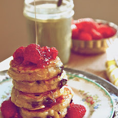 Smashed Raspberry Chocolate Chunk Pancakes