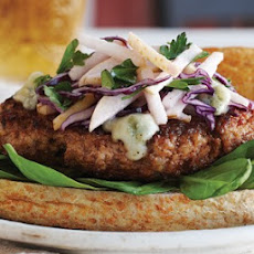 Pork Burgers with Asian Pear Slaw & Gorgonzola