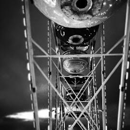 by Julie Dabour - City,  Street & Park  Amusement Parks ( ferriswheel, awesome, geometry, blackandwhite, rides, carnivals, festivals, allentown, greatallentownfair, pennsylvania )