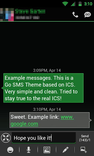 GO SMS THEME -Smooth ICS Green