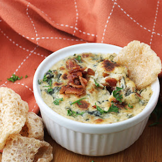 Bacon and Roasted Garlic Spinach Dip