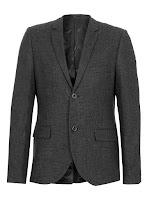 Topman Charcoal Check Skinny Blazer Grey