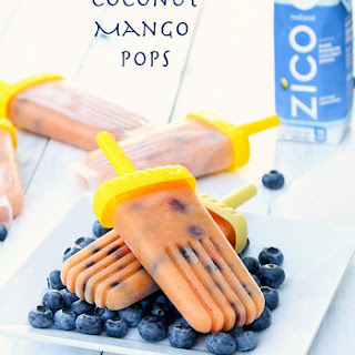 Coconut Mango Pops with Blueberries