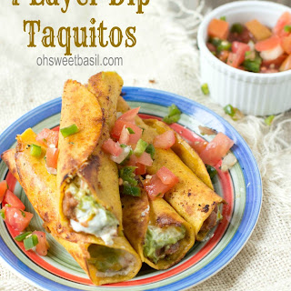 7 Layer Dip Fried Taquitos
