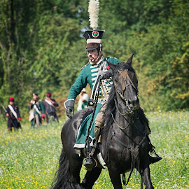Soldier and his horse by Colin Dixon - People Musicians & Entertainers ( horseback, soldier, horse, re-inactment )