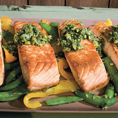 Salmon with Snap Peas, Yellow Peppers, and Dill-Pistachio Pistou