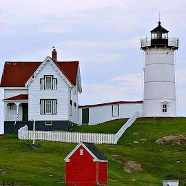 Nubble Lighthouse  by Lisa Morejon - Landscapes Waterscapes ( maine, ocean, landscapes, nubble lighthouse, historic )