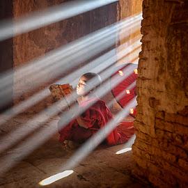 Little Monk by Feriana Ohari - People Street & Candids ( monk, myanmar, ray of light, rol, burma )