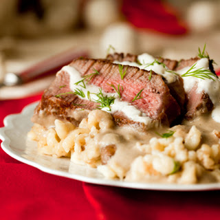 Beef Stroganoff with Peppered Spaetzle