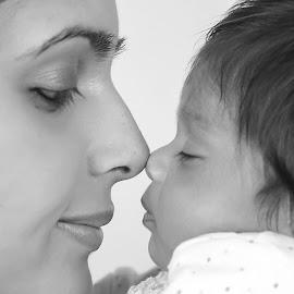 Nose Kiss by Jon Raffoul - Babies & Children Babies ( portraiture, portraits of babies, portraits of women, mother, baby girl, portrait,  )