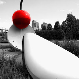 Spoon and Cherry bridge and fountain by Tyrell Heaton - City,  Street & Park  City Parks ( spoon and cherry, fountain, bridge,  )