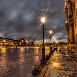 Louvre Night 5 by Ben Hodges - City,  Street & Park  Night ( paris ·     louvre ·     statue ·     old ·     hdr ·     pyramid ·     fountain ·     france ·     historical ·     public ·     rain · night, long exposure )