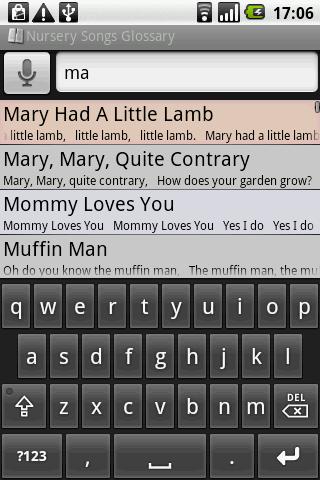 BKS Nursery Songs Glossary