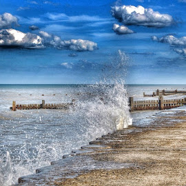 by Audrey van Rensburg - Landscapes Beaches ( bacton, norfolk, sea, beach, waves, clouds, sky, splash )