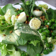 Fancy Shmancy Salad With Quail Eggs and Tarragon Dressing