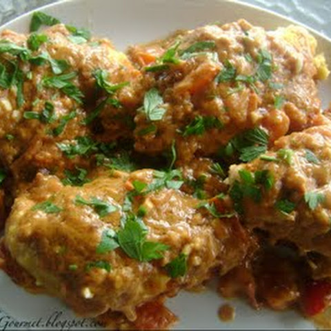Fried Chicken Breast with Creamy Garlic Peanut Butter & Tomato Sauce!!!