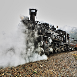 Coming at YOU...  by Dennis Ducilla - Transportation Trains ( steam train, colorado, train, black, rain, steam )