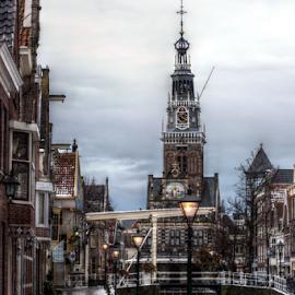 Alkmaar in wintertime by Mike Bing - City,  Street & Park  Street Scenes ( alkmaar, winter, ice, holland, snow, cheesemarket, frozen, waag, canal )