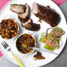 Sticky Chipotle Pork With Barbecue Beans