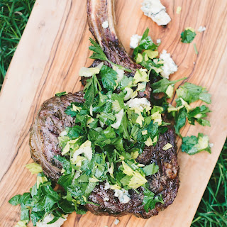 Grilled Rib-Eye Steaks with Parsley, Celery & Blue Cheese