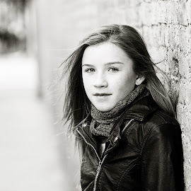 by Jennifer Olmstead - Babies & Children Child Portraits ( child, girl, black and white, wall, city )