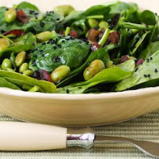 Wilted Spinach Salad with Edamame, Red Onion, and Black Sesame Seeds