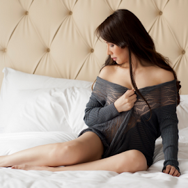 Don't Look! by J D - People Portraits of Women ( sweater, bed )